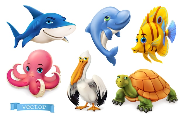 Funny sea animals and fishes. Premium Vector