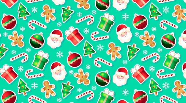Забавный фон с элементами рождества Бесплатные векторы