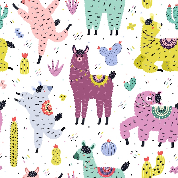 Funny seamless pattern with cute llamas and cactuses. creative background with alpaca and cacti in scandinavian style. hand drawn elements for kids design. trendy  illustration Premium Vector