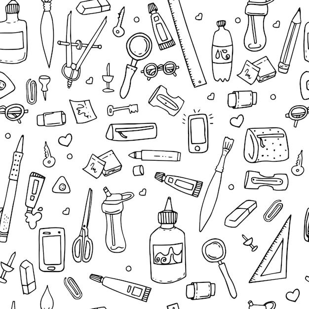 Funny seamless pattern with school supplies Premium Vector