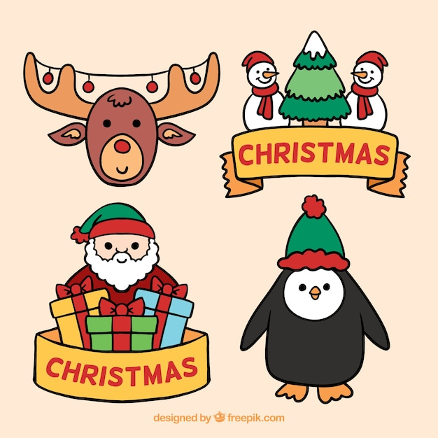 Funny set of christmas elements Free Vector