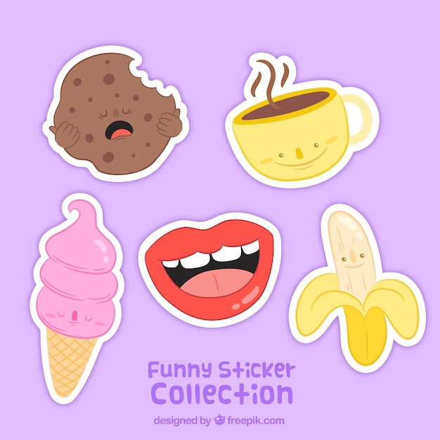 Funny set of hand drawn sticker