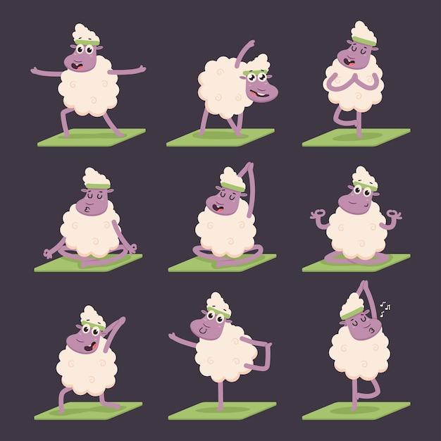 요가 포즈 연습을 하 고 재미있는 양. 귀여운 만화 양고기 문자 집합 배경에 고립입니다. 프리미엄 벡터