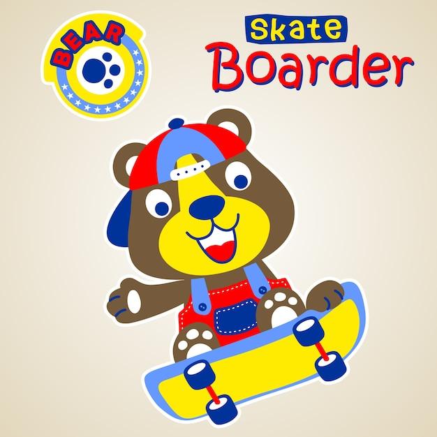 Смешной скейтбордист Premium векторы