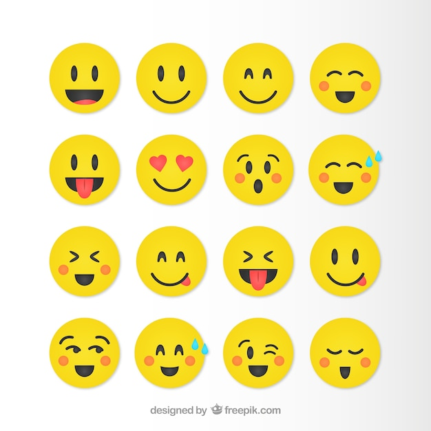 Funny smileys collection in yellow color Free Vector