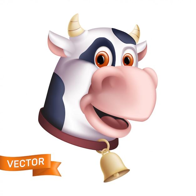 Смешной улыбающийся корова персонаж. мультфильм талисман головы. иллюстрация рогатого домашнего животного с золотым колокольчиком на белом фоне. отлично подходит для графического дизайна ко всемирному дню молока Premium векторы