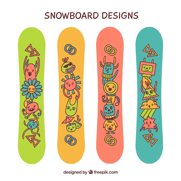 Funny snowboards with hand drawn\ characters
