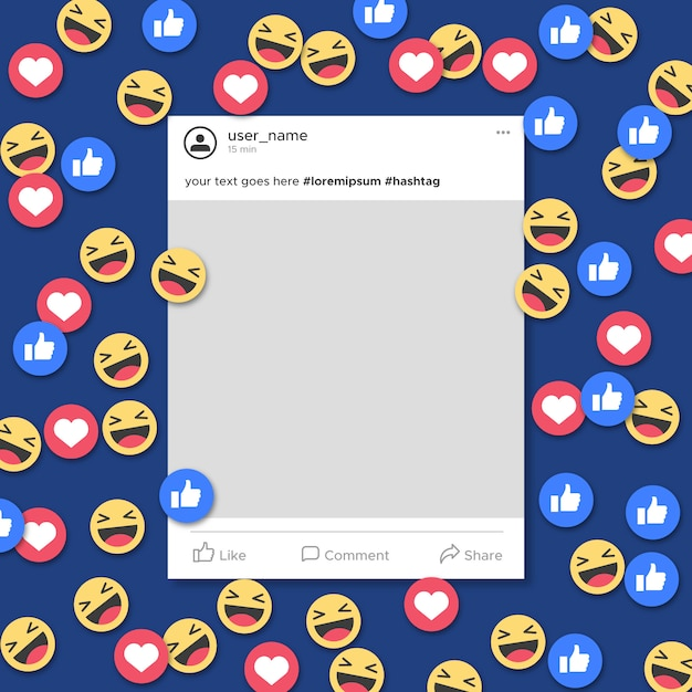 Funny social media frame template notification Free Vector