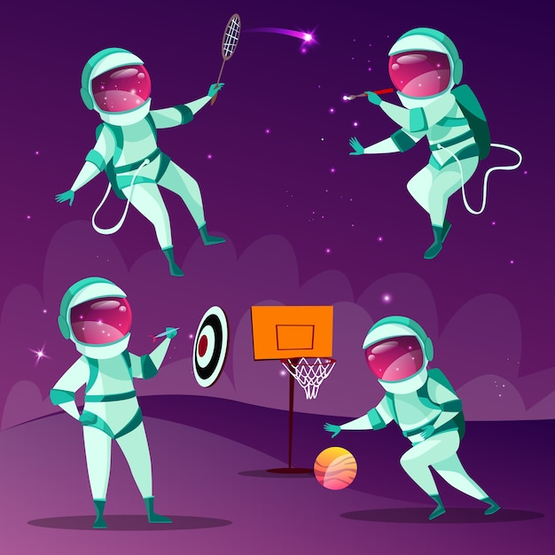 Funny spacemen playing darts, basketball, badminton and drawing in outer space Free Vector