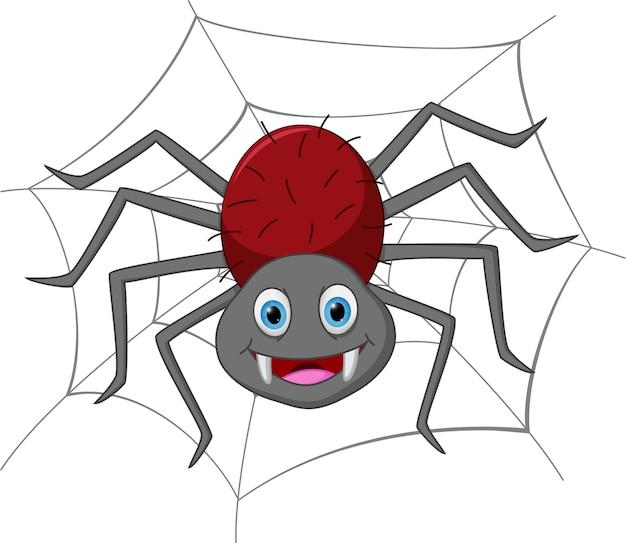 Funny spider cartoon Premium Vector