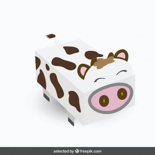 Funny squared cow Free Vector