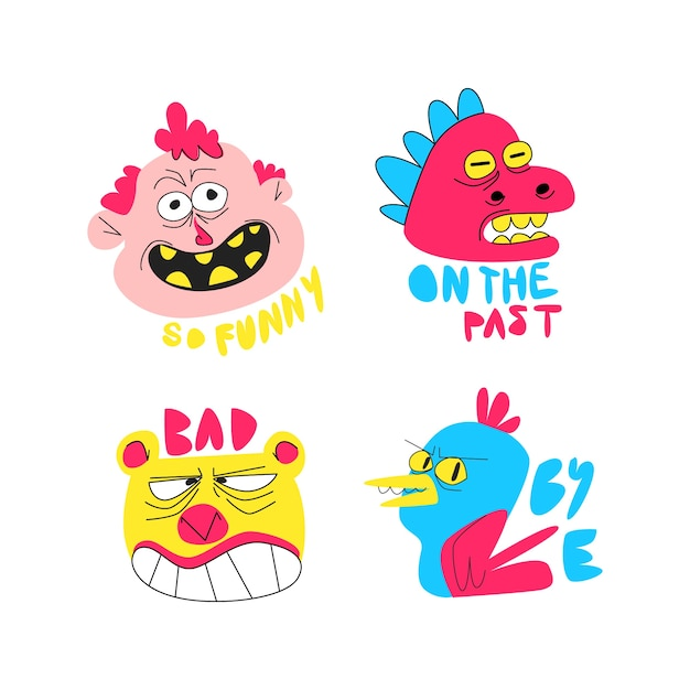 Funny sticker collection hand drawn Free Vector