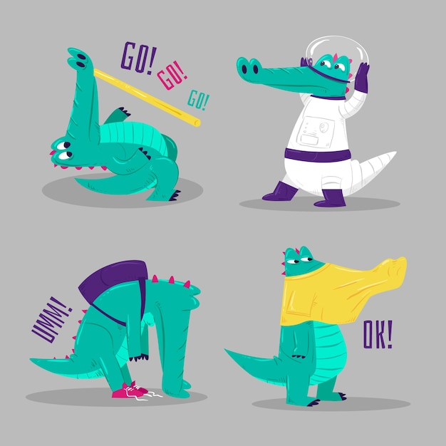Funny stickers collection of crocodiles Free Vector