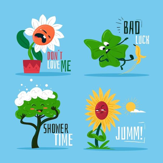 Смешные стикеры из коллекции природных растений Бесплатные векторы