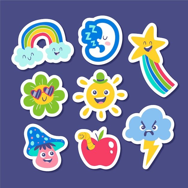 Funny stickers collection of weather Premium Vector