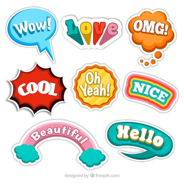 Funny stickers collection free vector