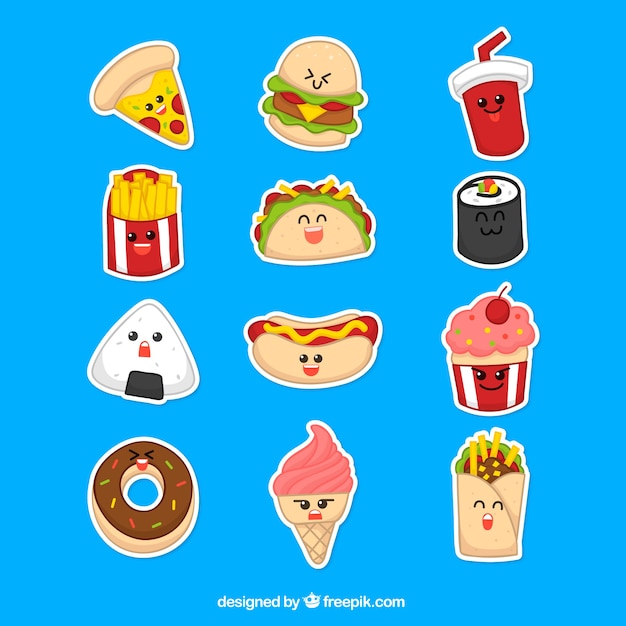 Funny stickers of modern food