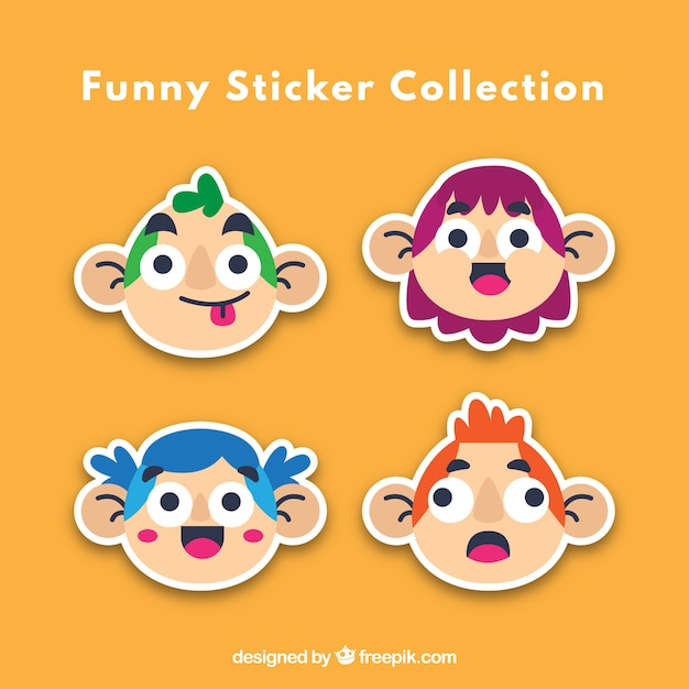 Funny stickers with lovely characters