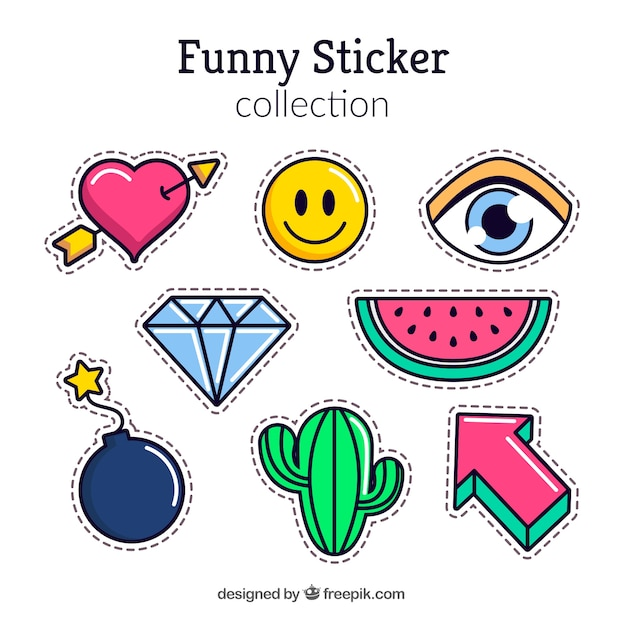 Funny stickers with modern style