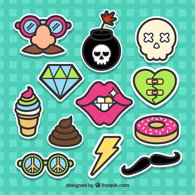 Funny stickers with original style Free Vector