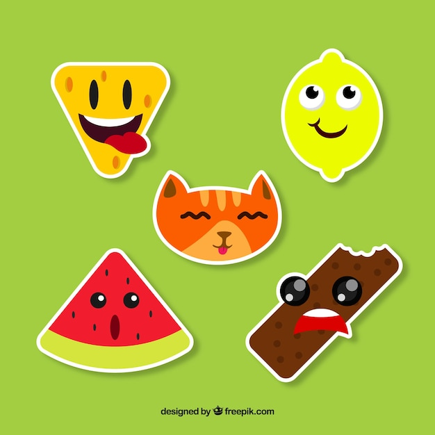 Funny stickers with smiley faces