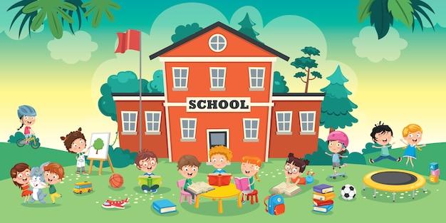 Funny students and school building Premium Vector