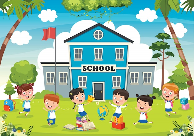 Funny students and school building Premium Vector