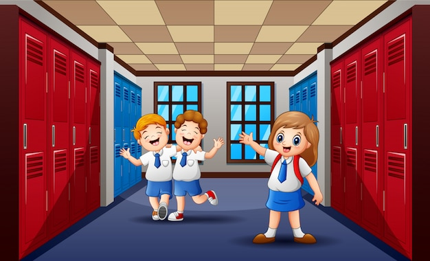 Funny students walking and laughing at school hallway Premium Vector