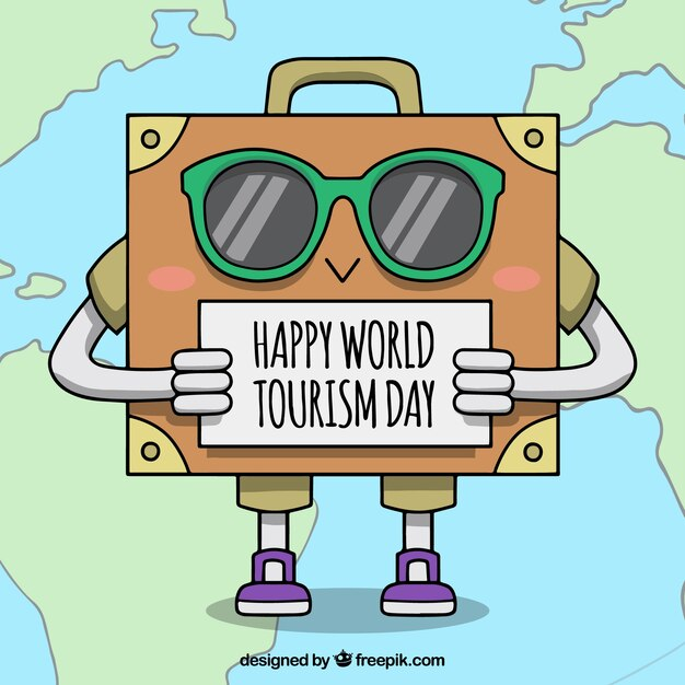 Funny suitcase for world tourism day