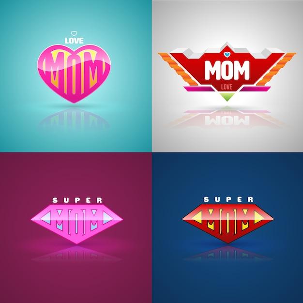 Funny super mom logo set Premium Vector