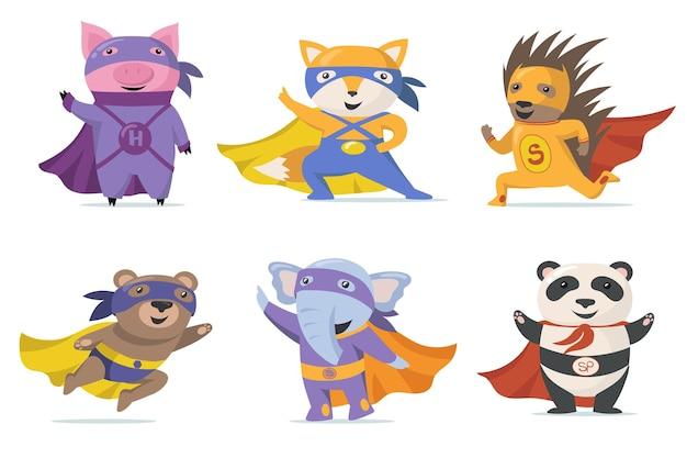 Смешные животные супергероя плоский набор Бесплатные векторы