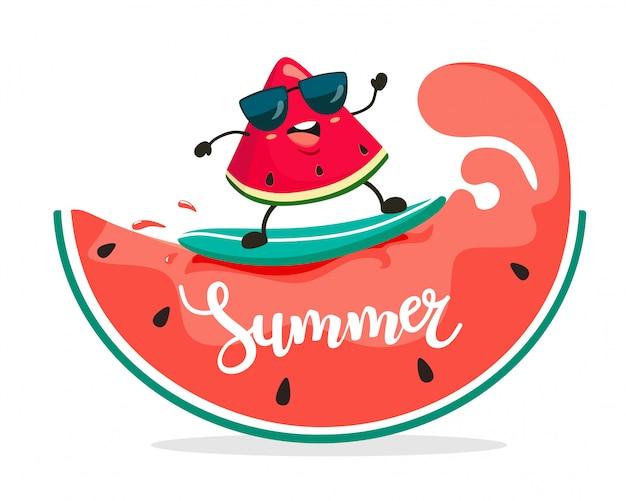 Смешные серфер арбуз ломтик едет на арбузных волнах. летняя иллюстрация Premium векторы