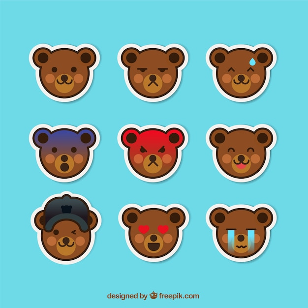 Funny teddy bear sticker collection
