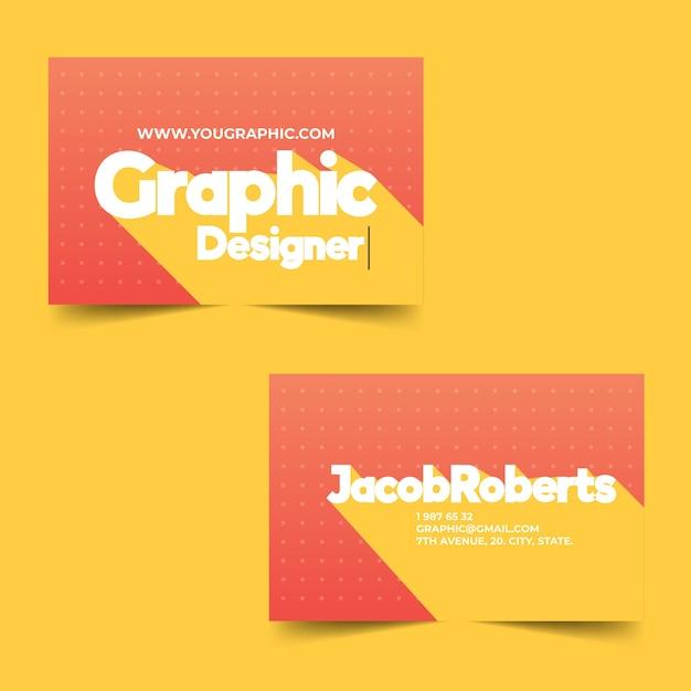 Прикольный шаблон визитки для графического дизайнера Бесплатные векторы