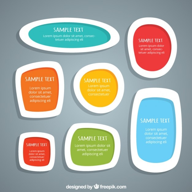 Funny text boxes set Free Vector