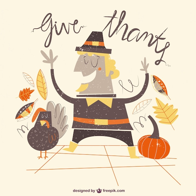 Captions For Thanksgiving >> Funny thanksgiving illustration Vector | Free Download