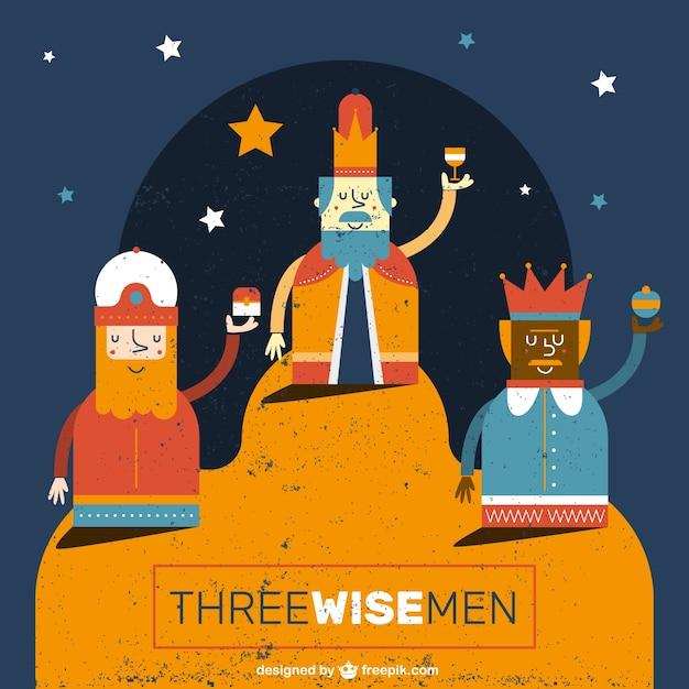 Funny three wise men illustration Free Vector