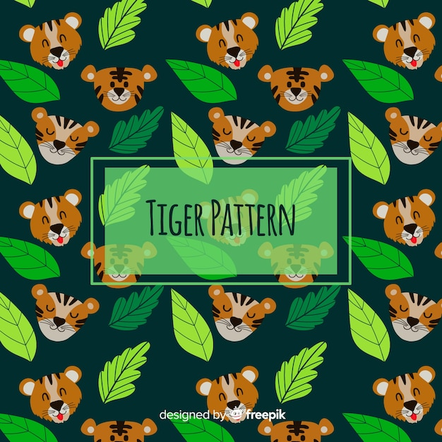 Funny tiger pattern Free Vector