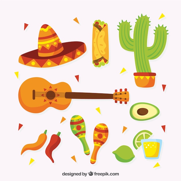 Funny traditional mexican elements Free Vector
