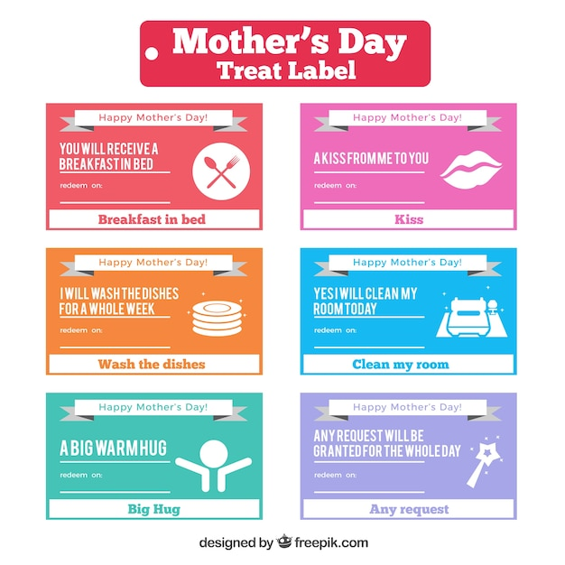 Funny treat labels for mother's day Free Vector