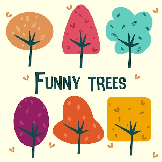 재미있는 나무 프리미엄 벡터