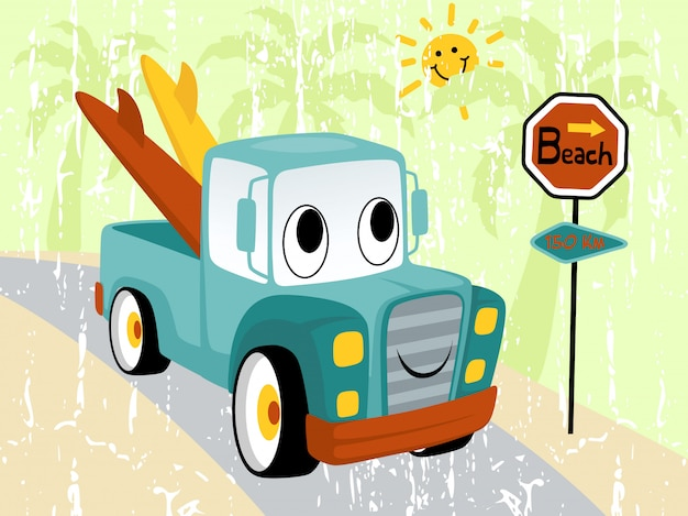 Funny truck cartoon with surfboard Premium Vector