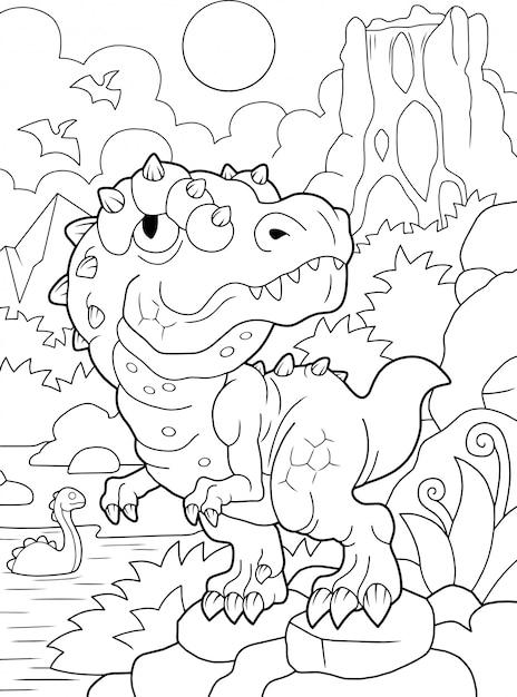 面白いティラノサウルスの塗り絵 Premiumベクター
