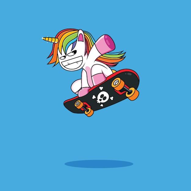 Funny unicorn cartoon and skateboard Premium Vector