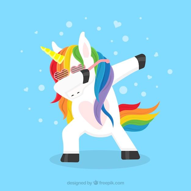 Funny unicorn doing dabbing Free Vector