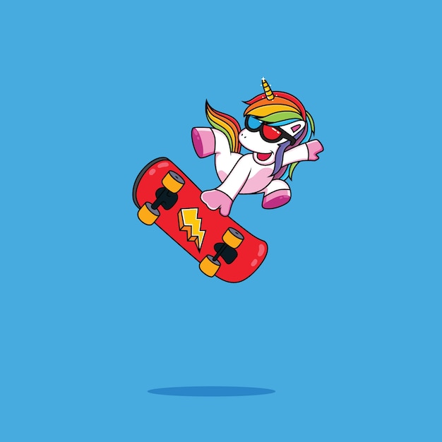 Funny unicorn on a skateboard Premium Vector