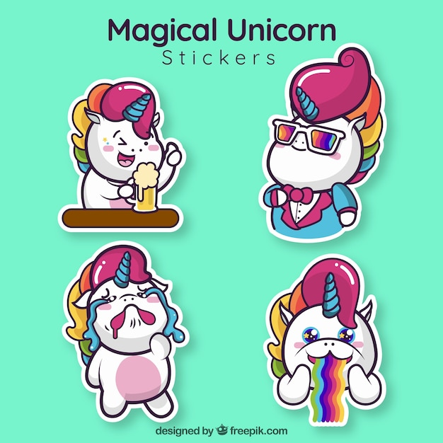 Funny unicorn stickers set Free Vector