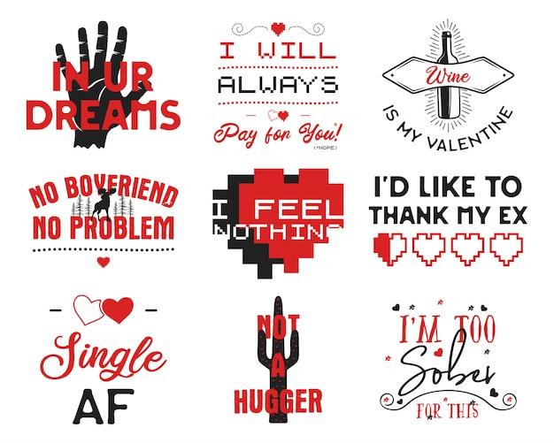 Funny valentines day typography logos emblems set. Premium Vector