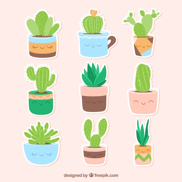 Funny variety of cactus stickers free vector
