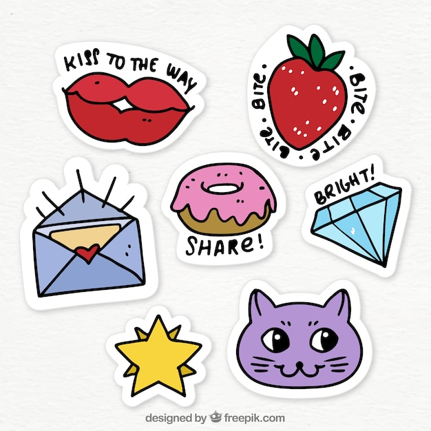 Funny variety of hand drawn stickers